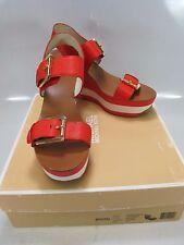 MICHAEL KORS Women WARREN WEDGE Mandarin Red Leather Sandal US 9M (40R5WAMS2L)
