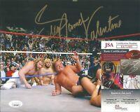 Greg The Hammer Valentine Signed Auto 8x10 Photo WWF WWE Wrestling JSA COA