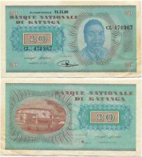 Katanga (Congo) 20 Francs 1960 XF++/AU P-6a, rare