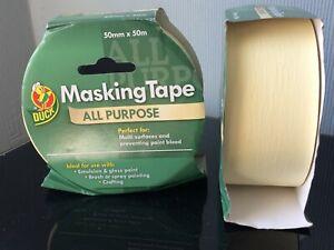 2 ROLLS Duck Tape All Purpose Masking Tape Indoor Decorating 50mm x 50m