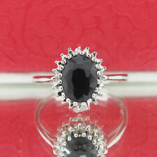 Diamond Solitaire with Accents Sterling Silver Fine Rings