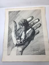 Vintage Original Andre Desjardins 1972 Ink Drawing Lithograph Baby Breastfeeding