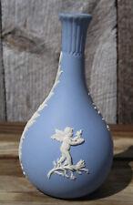 Wedgewood Blue & White Cherub Jasperware Bud Vase, England