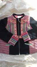 MONSOON  Artisan boho hippy Patch Work Tapestry Jacket Black Multi plus size 22