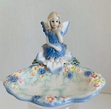 Rare Fairy Jewelry Trinket Soap Dish Figurine Girl With Flowers