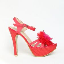 Plateau Riemchen Sandaletten 37 Rot Pumps High Heels Stilettos Shoes XW9041