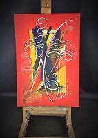 Tableau peinture acrylique art abstrait africain vintage Signé BBI Mamadou C1980
