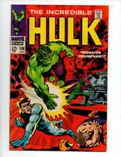 "The Incredible Hulk #108 (Oct 1968, Marvel) VF/NM 9.0 ""NICK FURY & SHIELD APP."""