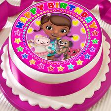 DOC MCSTUFFIN HAPPY BIRTHDAY PINK 7.5 INCH PRECUT EDIBLE CAKE TOPPER DECORATION