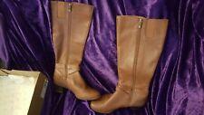 ANNE KLEIN AK iFLEX BROWN TAN heel heeled LEATHER BOOTS Shoes WOMEN'S US SIZE 8M