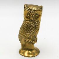 T162: VINTAGE SOLID BRASS OWL BIRD FIGURINE MODEL