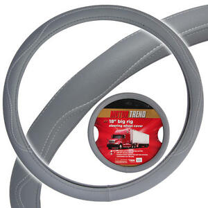 "Heay Duty Big Rig Steering Wheel Covers 18"" Inch ODORLESS Gray Syn Leather"