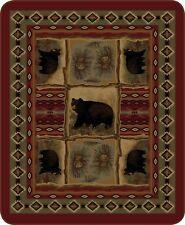 Queen Rustic Bear Patchwork Print Art Mink Faux Fur Blanket Warm Super Soft Full