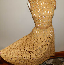 Vintage 50s mustard yellow cotton eyelet cutout lace party dress