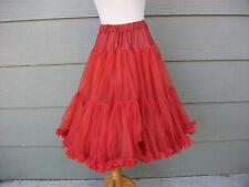 Womens Ruffle Skirt Petticoat Crinoline Vtg Red Square Dance Nylon Meg Simkins