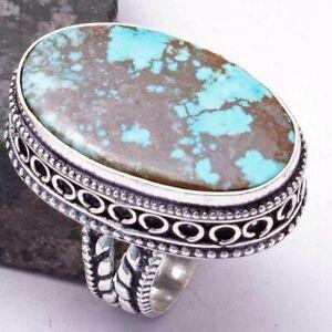 Turquoise Ethnic Handmade Antique Design Ring Jewelry US Size-7 AR 38508