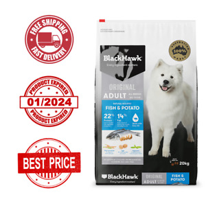 NEW Black Hawk Dog Food Adult Fish And Potato 20 KG - FREE SHIPPING- EXP 01/2024