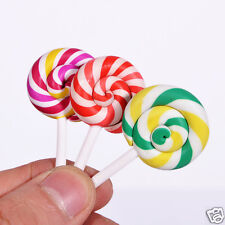 2x Fimo Lollipop Flat Back Applique Kid Headdress Phone Cover Decor DIY Material