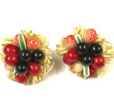 Vintage Large Gold Circular Glass Fruit Cherries Screw Clip On Earrings Boxed