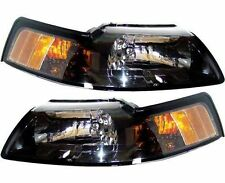 1999 - 2004 FORD MUSTANG (BLACK) HEADLIGHTS HEADLAMPS LIGHTS LAMPS PAIR