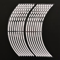 16 Pcs White Car Wheel Stickers Reflective Safety Rim Tape Stripe Decal SP