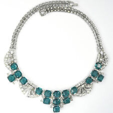 Boucher Pave Tracery Diamante Baguettes and Square Cut Emeralds Collar Necklace