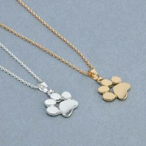 Cute Silver Puppy Dog Paw Chain Pendant   Gold Unisex Kitten Cat Print Necklace