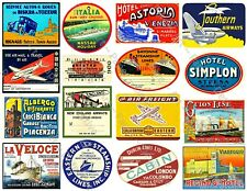 Travel Label Reproductions, Hotel Baggage Tag, Airplane Art Paper, 1 Sticker Set
