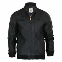 Mens Jacket Brave Soul Leroy PU Leather Look Harrington Retro Bomber Jacket