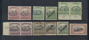 """HUNGARY DEBRECEN - ROMANIAN OCCUPATION 1919 -  12 STAMPS - EXPERT """"BODOR"""" SIGNED"""