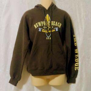 Gildan Womens Brown Newport Beach Pullover Hoodie Sweatshirt Size PS