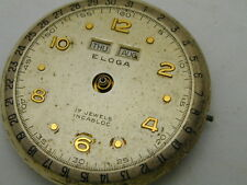 VINTAGE 1940S ELOGA TRIPLE DATE WATCH MOVEMENT AND DIAL PERFECT BALENCE