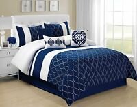 7 Piece MALIBU Wave Embroidery Comforter Set Navy Blue- Queen King Cal.King Size