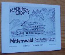 Alpenhotel ERDT - Mittenwald (Oberbayern) # Haus-Prospekt - um 1950