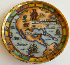 3 Ceramic Espresso Coffee Cup Plates/Trays Depicting Old America -Made in France
