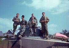 COLOR  WW2 Photo WWII US Army M4 Sherman Tank Crew NICE PHOTO ! World War Two