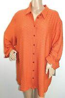 Alia Women Plus Size 1x 2x Amber Textured Chevron Button Down Shirt Jacket Top