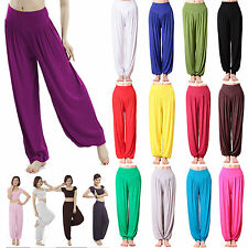 Plus Size Women lain Casual Harem Trousers Pants Pajama Baggy Aladdin Boho Hippy