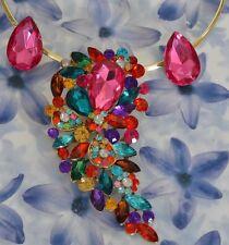 Dolly-Bijoux Fantaisie Parure 2 en 1 Grande Fleur de Diamant Cz Multicolore