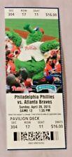 Philadelphia Phillies Vs Braves 4/26/15 Ticket Ryan Howard Home Run