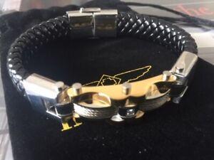 Invicta Elements Men's Titanium/Leather Black and Gold Bracelet (35406)