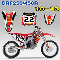 Stickers Decals number Kit for Honda CRF250R 10 - 13 CRF450R 2009-2012 Red 22 P