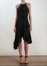 Zimmermann Flounce Picnic Dress | Black Halter Asymmetric Cocktail | $500 RRP