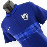 Mens Nike Dri Fit Blue US Soccer Golf Polo Shirt Size Large L Athletic Futbol