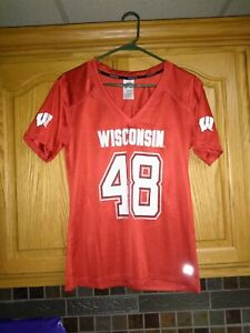 Women's Small Russell #48 Red Wisconsin Badgers Fashion Football Jersey