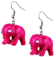 Pink Elephant Drop Earrings, Cute and Fun Jewellery, Quirky Fashion Earrings