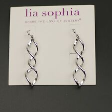 lia sophia jewelry polished silvertone hoop drop dangle spiral earrings fishhook