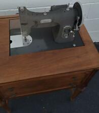 Vintage White Rotary Electric Sewing Machine - Built In Table - Folds Down VGC