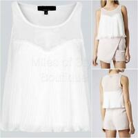 New Ex TOPSHOP Ladies White Sleeveless Summer Cropped Top Size 10 - 16