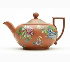 ANTIQUE WEDGWOOD ROSSO ANTICO PEONY DECORATED TEAPOT 19TH C